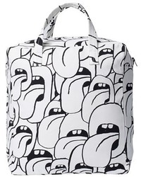 White and Black Canvas Tote Bag