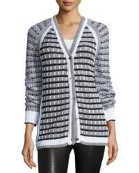 Prabal Gurung Grid Stitch Long Sleeve Cardigan Blackwhite