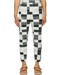 Homme Plissé Issey Miyake Black Off White Check House Trousers