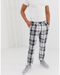 ASOS DESIGN Cigarette Trousers With Pleats In Monochrome Check