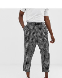 Noak Drop Crotch Tapered Cropped Smart Trouser In Black Check