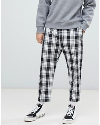 Bershka Loose Fit Check Trousers In Black With Elastic Waist