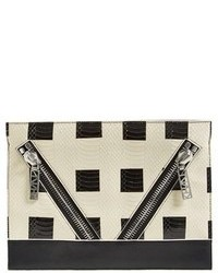 Kenzo Kalifornia Check Snake Embossed Clutch