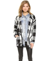 White and Black Check Coat