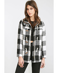 Forever 21 Check Plaid Toggle Coat