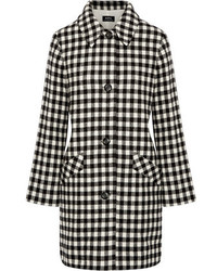 Checked wool blend felt coat medium 6469608