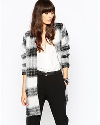 Just Female Wood Kimono Coat In Blackwhite Check