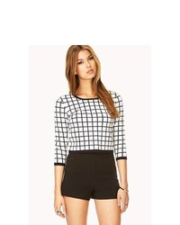 Forever 21 Retro Grid Cropped Sweater