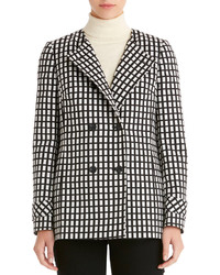 White and Black Check Double Breasted Blazer