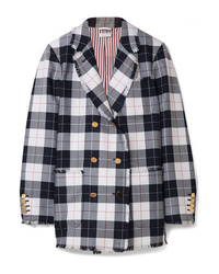 Thom Browne Double Breasted Frayed Checked Wool Blend Blazer