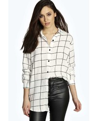 Boohoo Diane Grid Print Oversized Long Sleeve Shirt