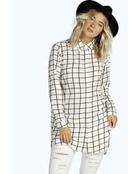Boohoo Lily Grid Check Longline Shirt