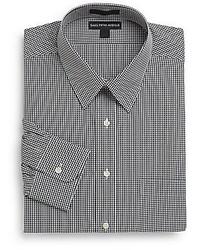 Regular fit mini check cotton dress shirt medium 180847