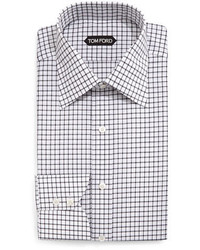 Tom Ford Windowpane Pattern Silk Dress Shirt Blackwhite