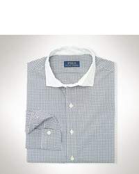 White and Black Check Long Sleeve Shirt
