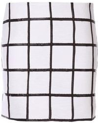 White and Black Check Mini Skirt