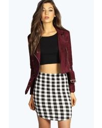 Boohoo Khloe Monochrome Check Mini Skirt