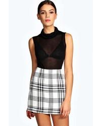 Boohoo Klara Monochrome Check Woven A Line Mini Skirt