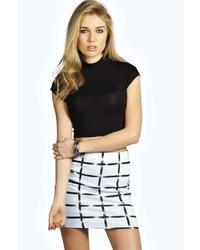 Boohoo Maggie Grid Print Textured Mini Skirt