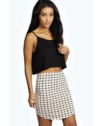 Boohoo Mary Grid Check Mini Skirt