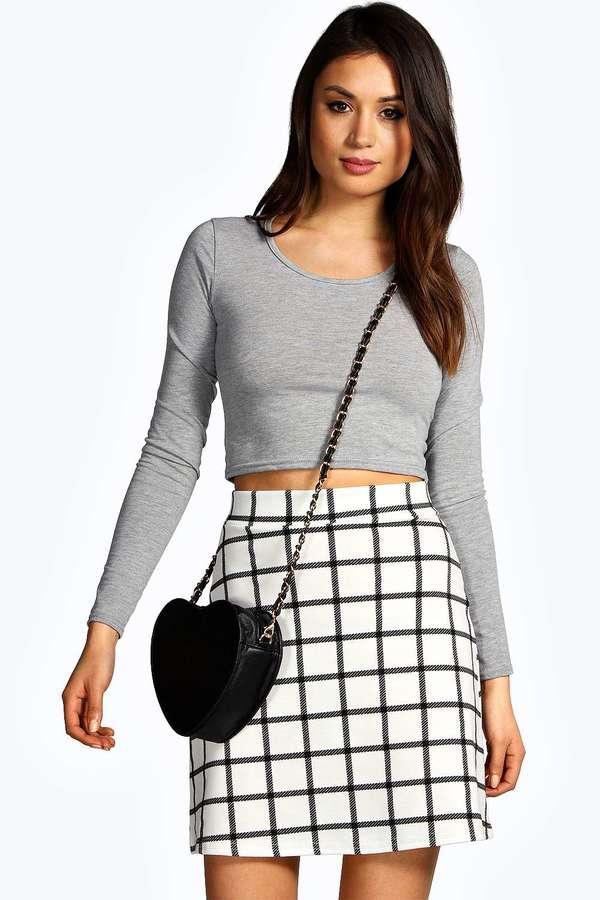391c9f396 Boohoo Vicki Grid Check A Line Mini Skirt, $20 | BooHoo | Lookastic.com