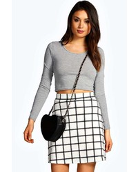 Boohoo Vicki Grid Check A Line Mini Skirt