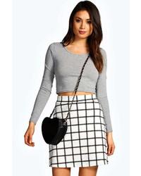 Boohoo Vicki Grid Check A Line Mini Skirt