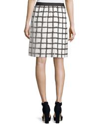 Max Studio Check Pleated A Line Skirt Blackoff White