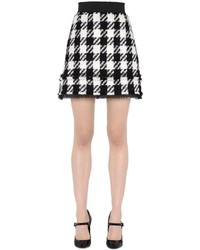 Dolce & Gabbana High Waisted Check Wool Blend Mini Skirt