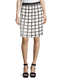 Max Studio Check Pleated A Line Skirt Blackoff White