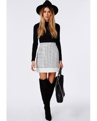 Missguided Grid Print Contrast Hem A Line Skirt White