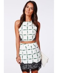 Missguided Kaly Grid Print Lace Hem Mini Skirt Green