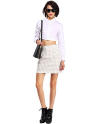 Romwe Check Print White Skirt