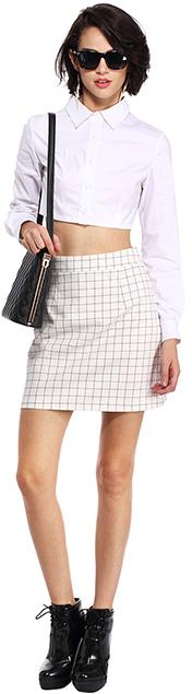 Romwe Check Print White Skirt