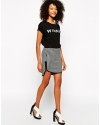 Vero Moda Grid Print Skirt With Zip Front