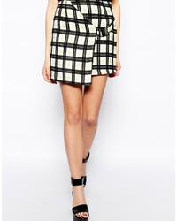 Fashion Union Wrap Skirt In Grid Print With Buckle Detail