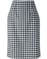 Blumarine Gingham Check Pencil Skirt