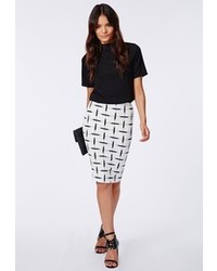 Missguided kay grid print midi skirt white medium 92973
