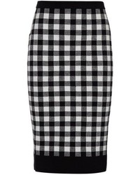 Derek Lam Monochrome Plaid Pencil Skirt