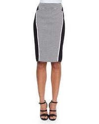 Lafayette 148 New York Omega Grid Print Paneled Pencil Skirt