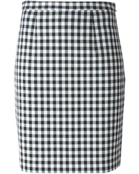 Pleated back check skirt medium 235420