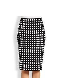St. John Grid Print Knit Pencil Skirt Caviar White