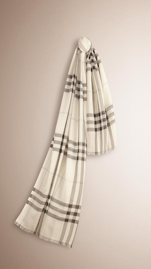 ... Burberry Lightweight Check Wool And Silk Scarf ... cc31a0bec6