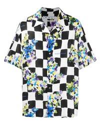 Off-White Check Print Floral Shirt