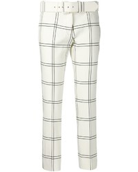 White and Black Check Skinny Pants