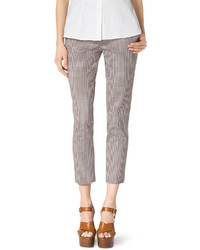 Michl kors check stretch cotton skinny pants medium 337385