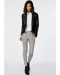 Missguided gingham high waisted skinny trousers white medium 337384
