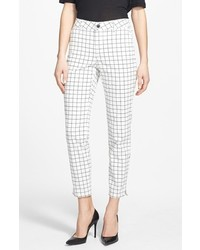 NYDJ Leen Stretch Cotton Ankle Trousers Black White Grid 8