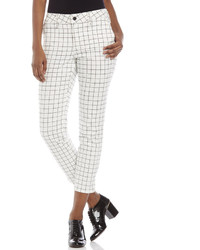 NYDJ Petite White Aileen Grid Ankle Pants