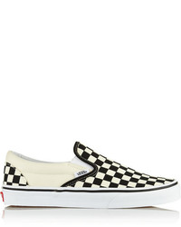 White and Black Check Slip-on Sneakers